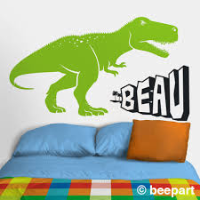 Green Dinosaur Wall Decal Green T Rex Personalized Decal Tyrannosaurus Rex Wall Decal Kids Room Decor Custom Name Lime Green