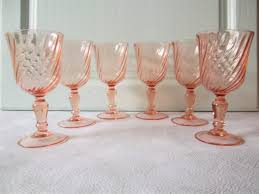 set of 6 wine glasses swirly pink glass