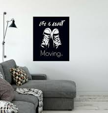 Vinyl Wall Decal Quote Teen Room Sneakers Life Is About Moving Stickers 4242ig Ebay