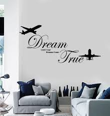 Vinyl Wall Decal Dreams Come True Inspirational Quote Planes Stickers Wallstickers4you