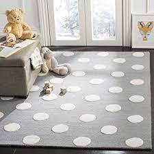 Amazon Com Safavieh Kids Collection Sfk904c Handmade Grey And Ivory Polka Dot Wool Area Rug 8 X 10 Furniture Decor