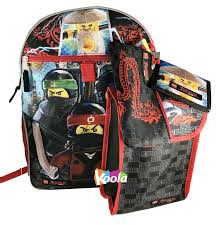 Lego The Ninjago Movie 5 PC Backpack Lunch Snack Cinch Bag Wallet ...