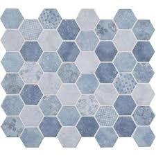 hexagon blue mosaic tile tile