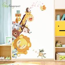 Cute Little Animals Door Stickers Corner Wall Sticker Self Adhesive Home Decor Children S Room Decoration Kids Bedroom Decor Zac Trader Ltd