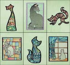 c1658 stained glass cats by fred