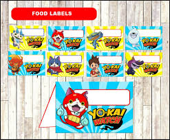 Yo Kai Watch Food Labels Printable Yo Kai Watch Party Food Tent