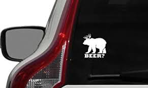 Amazon Com Bear Deer Beer Antler Horn Car Vinyl Sticker Decal Bumper Sticker For Auto Cars Trucks Windshield Custom Walls Windows Ipad Macbook Laptop And More White Automotive