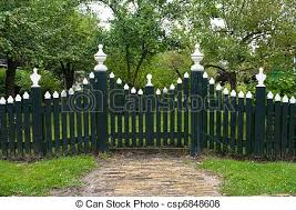 Wooden Fence Green Wooden Picket Fence With White Tops