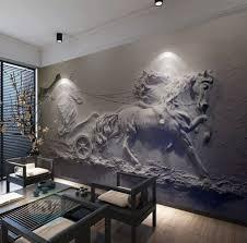 3d Embossed Look Cement Sculpture Horse Wallpaper Mural Wallmur