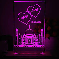 personalised taj mahal love led l