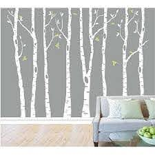 Popeven White Tree Wall Decal Vinyl Large Birch Tree Sticker For Living Room Decorative Nursery 89 X120 Walmart Com Walmart Com