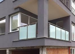 steel railings with glass