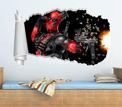 Deadpool 3d Window View Decal Graphic Wall Sticker Decor Art Mural Marvel H311