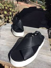 sandals black leather