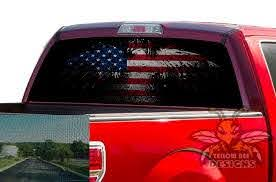 Flag Usa Eagle Rear Window Decals Perforated Vinyl Ford F150