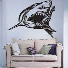 Predator Fish Sea Ocean Shark Jaws Wall Decal Decor Sticker Vinyl Wall Art Mural Shark Jaw Shark Decor Predator Decal Shark Stickers Wish
