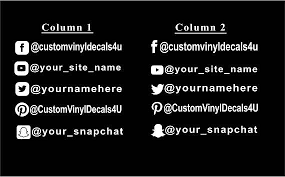 Social Media Names Decal Social Media Decals Custom Vinyl Etsy Instagram Decal Instagram Names Custom Vinyl Decal