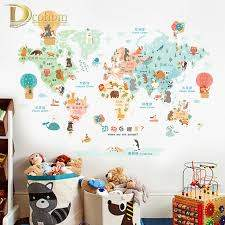 Colorful Cartoon World Map Wall Sticker Kids Room Living Room Nursery Decoration Vinyl Poster Wall Decals Art Mural Stickers Mural Sticker Map Wall Stickerworld Map Wall Sticker Aliexpress