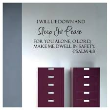 Sleep In Peace Psalm 4 8 Bible Verse Lettering Wall Decal Decor Quote Inspire Wall Stickers Aliexpress