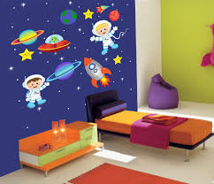 Boy Planets Space Wall Decal Star Kids Astronaut Rocket Ship Wall Decal