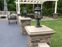 patio designs with faux stone and brick