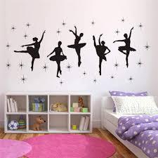 Amazon Com Bedroom Decor Ballet Dance Ballerinas Stars Vinyl Wall Decals Art Stickers Dancing Ballet Nursery Kids Girls Room Decor Girls Room Wall Sticker Kw 109 Black 17x40 Inch Arts Crafts Sewing
