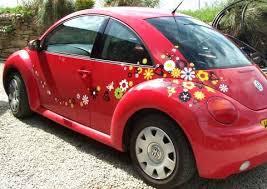 Volkswagen Beetle With Flower Stickers Volkswagen New Beetle Volkswagen Beetle Pink Volkswagen Beetle