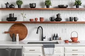 kitchen backsplash and walnut floating