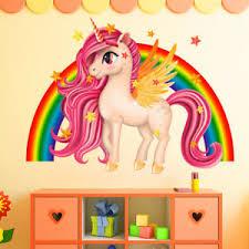 Unicorn Wall Stickers Rainbow Wall Art Kids Girls Bedroom Stars Nursary Decal Ebay