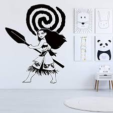 Amazon Com Vodoe Moana Wall Decals Disney Wall Decals Girls Nursery Boys Childrens Cartoon Anime Sexy Woman Toddler Stickers Suitable For Family Living Vinyl Art Home Decor Black 15 7 X 20 Inches Home