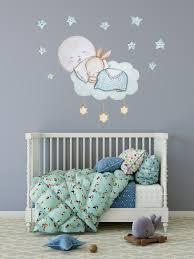 Bunny Wall Sticker Watercolor Bunny Wall Art Sleeping Bunny Wall Decal Kidscutedecorations