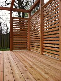 Cedar Stained Horizontal Privacy Screen Privacy Screen Outdoor Outdoor Privacy Patio Deck Designs