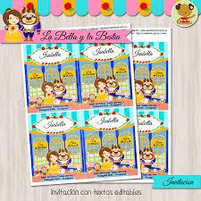 La Bella Y La Bestia Invitacion Textos Editables