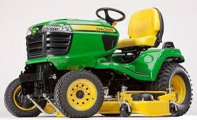 the john deere x758 lawn mower in a