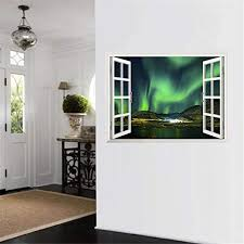 Amazon Com Bibitime 3d Fake Window Beautiful Aurora View Wall Sticker Mountain Lake Scenery Vinyl Decal For Kids Room Decor Art Mural Living Room Tv Background Pvc Decorations Kitchen Dining