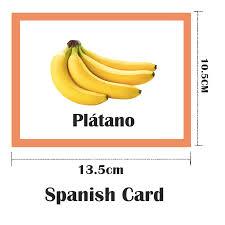 Montessori Spanish Fruit Spain Children Flash Card Pocket Flash ...