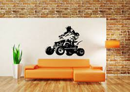 Wall Decor Art Vinyl Sticker Mural Decal Quad 4 Wheeler Atv Dirt Bike Set Sa683 Ebay
