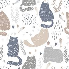 funny cats seamless pattern design