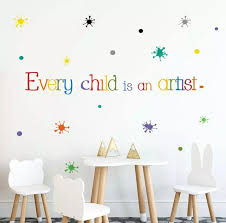 Every Child Is An Artist Quotes Wall Sticker Playroom Study Room Stickers Home Decor Removable Polka Dots Wall Decal Fx1558 Wall Stickers Aliexpress