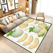 Amazon Com Sweet Decor Children Play Princess Room Decor Rug Various Melon Fruit With Leaf Yummy Food Fresh Diet Illustration For Kids Baby Room Bedroom Nursery Avocado Green Light Peach 4 5 X 5 2