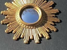 belgium antique convex sunburst mirror