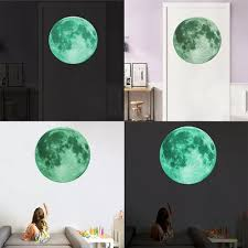 Vova 30cm Luminous Moon 3d Wall Sticker For Kids Room Living Room Bedroom Decoration Home Decals Glow In