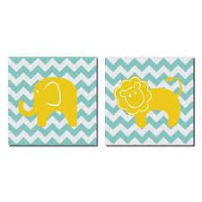 Adorable Colorful Baby Lion And Elephant On Chevron Kids Room And Nursery Decor Two 12x12 Teal Yellow White Walmart Com Walmart Com