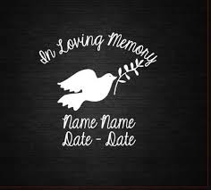 In Loving Memory Dove Window Decal Personalized Computer Decal Wall Decal Craft Decal Urn Decal Dove Vinyl S Computer Decal Window Decals In Loving Memory