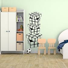 Amazon Com Wall Decals Teen Boys Room Stacked Rubik S Cubes Vinyl Sticker For Bedroom Game Room Playroom Kids Room Handmade