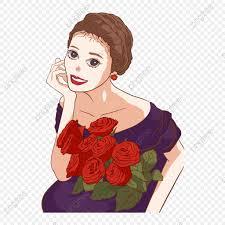 فتاة الموضة امرأة تمسك وردة بابوا نيو غينيا المواد عنصر فتاة