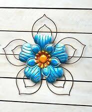 Garden Flower Wall Or Fence Art Garden Porch Patio Outdoor Decor Blue For Sale Online