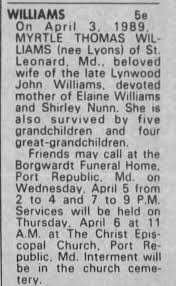 Obituary for MYRTLE THOMAS WILLIAMS - Newspapers.com