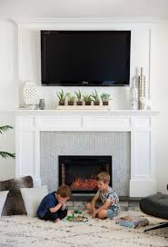 mantel with a tv above