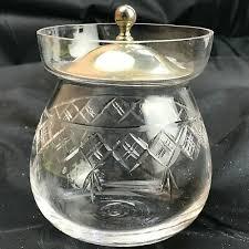 vintage cut glass jam jar sugar bowl